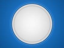 Blauwe en witte gestikte cirkelvorm op leer Stock Afbeelding