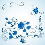 Blauwe en witte gzhelachtergrond royalty-vrije illustratie