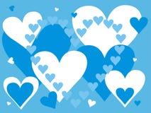 Blauwe en witte harten Royalty-vrije Stock Afbeeldingen