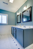 Blauwe en witte klassieke moderne badkamers. Stock Fotografie
