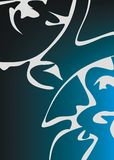 Blauwe en witte samenvatting Stock Afbeelding