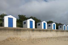 Blauwe en Witte Strandhutten in Southwold, Suffolk, U Royalty-vrije Stock Fotografie
