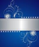 Blauwe en zilveren greetinkaart Royalty-vrije Stock Afbeelding