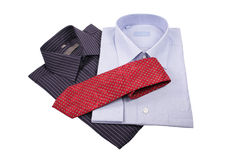 Blauwe en zwarte overhemden met rode band Royalty-vrije Stock Afbeelding