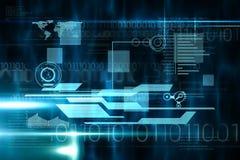 Blauwe en zwarte technologieinterface Stock Foto