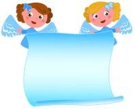 Blauwe engelen met lege brief stock illustratie