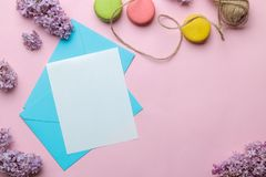 Blauwe envelop met een spatie voor tekst en een tak van sering op een heldere in roze achtergrond Hoogste mening stock foto's