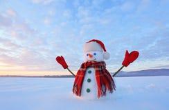 Blauwe eyed sneeuwman De zonsopgang informeert de hemel en betrekt door warme kleuren Het overdenken de sneeuw Het landschap van  stock afbeeldingen