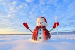 Blauwe eyed sneeuwman De zonsopgang informeert de hemel en betrekt door warme kleuren Het overdenken de sneeuw Het landschap van  royalty-vrije stock fotografie