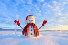 Blauwe eyed sneeuwman De zonsopgang informeert de hemel en betrekt door warme kleuren Het overdenken de sneeuw Het landschap van  stock fotografie