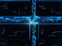Blauwe fantasie futuristische kubussen Stock Illustratie