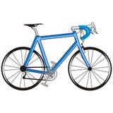Blauwe fiets stock illustratie