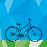Blauwe fiets in het park Stock Foto