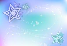 Blauwe Fonkelende Achtergrond met sterren Stock Foto