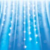 Blauwe fonkelingsachtergrond met sterren en stralen Royalty-vrije Stock Afbeelding