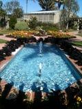 Blauwe fonteinwater en schaduwen in een botanische tuin in Californië Stock Fotografie