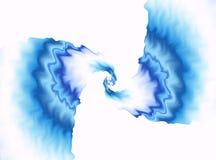 Blauwe fractal achtergrond Kleurrijk golvend patroon op witte achtergrond Centrumnadruk Helder modern digitaal art. Creatieve gra Royalty-vrije Stock Foto