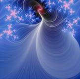 Blauwe fractal en roze sterren Royalty-vrije Stock Afbeelding