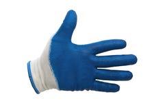 Blauwe geïsoleerde het werkhandschoenen Stock Afbeelding