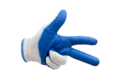 Blauwe geïsoleerde het werkhandschoenen Royalty-vrije Stock Foto's