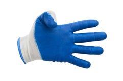 Blauwe geïsoleerde het werkhandschoenen Stock Foto's