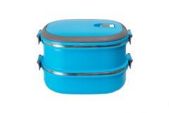 Blauwe geïsoleerde lunchdoos Stock Afbeelding