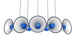 Blauwe Geïsoleerde Megafoons vector illustratie