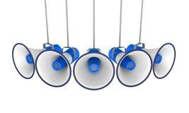 Blauwe Geïsoleerde Megafoons stock illustratie