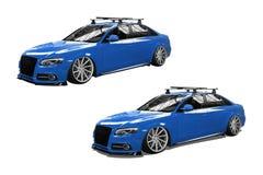 Blauwe geïsoleerde moderne auto Royalty-vrije Stock Afbeelding