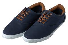 Blauwe geïsoleerde tennisschoenen Stock Fotografie