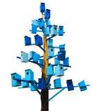 Blauwe geïsoleerde vogelhuizen Royalty-vrije Stock Foto