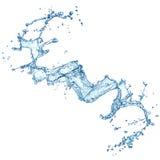 Blauwe geïsoleerde waterplons stock afbeelding