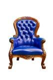 Blauwe geïsoleerdeg het leerleunstoel van de luxe Royalty-vrije Stock Afbeelding
