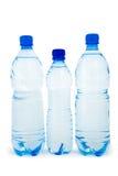 Blauwe geïsoleerdeo fles drie royalty-vrije stock foto