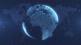 Blauwe geanimeerde die Aarde van numerieke gegevens wordt gemaakt stock footage