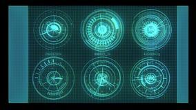 Blauwe Geanimeerde Futuristische HUD of Hoofden op Grafische Vertoning stock footage