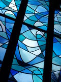 Blauwe gebrandschilderd glasvensters Royalty-vrije Stock Afbeelding