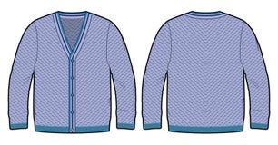 Blauwe gebreide cardigan Stock Foto's