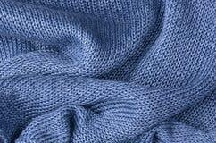 Blauwe gebreide truiachtergrond Stock Afbeelding