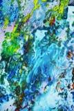 Blauwe geelgroene oranje zachte mengelingskleuren, het schilderen vlekkenachtergrond, waterverf kleurrijke abstracte achtergrond Stock Afbeelding