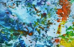 Blauwe geelgroene zachte mengelingskleuren, het schilderen vlekkenachtergrond, waterverf kleurrijke abstracte achtergrond Royalty-vrije Stock Foto's