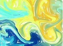 Blauwe gele abstracte achtergrond De texturen van de inktmarmering Hand getrokken marmeren illustraties, het document van ebruaqu stock illustratie
