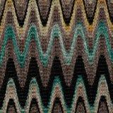 Blauwe, gele en grijze het patroonstof van golvenlijnen stock foto's