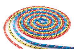 Blauwe, gele en rode kabelspiraal Stock Foto's