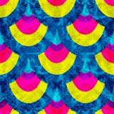 Blauwe gele en roze geometrische voorwerpen op blauwe achtergrond stock illustratie