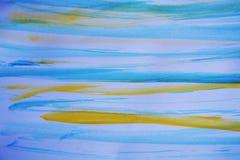 Blauwe gele het schilderen lijnen, abstract ontwerp Royalty-vrije Stock Afbeelding