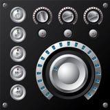 Blauwe geleide volumemeter met de knopen van verschillende media Royalty-vrije Stock Foto
