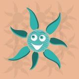 Blauwe gelukkige zon Stock Illustratie
