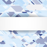 Blauwe geometrische achtergrond met witte banner Stock Foto's