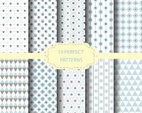 10 blauwe geometrische patronen Stock Fotografie